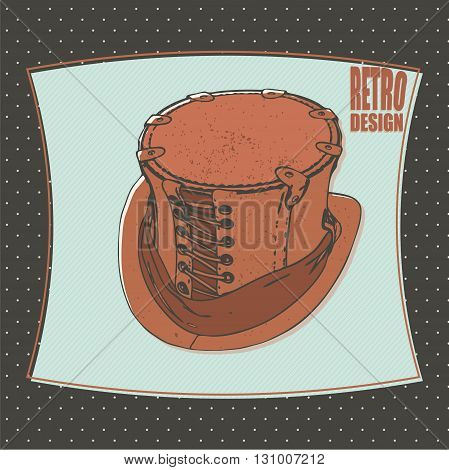 Tophat retro design cartoon vector isolated background