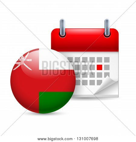 Calendar and round Omani flag icon. National holiday in Oman