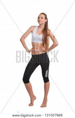 portrait of young beautiful woman making physical exercises isolated on white
