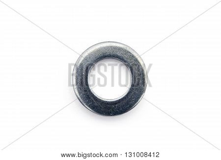 shining big steel metal washer on white background isolated closeup