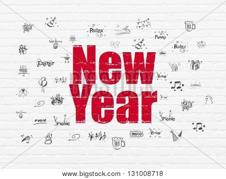 Entertainment, concept: Painted red text New Year on White Brick wall background with  Hand Drawn Holiday Icons