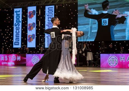 Wroclaw Poland - May 14 2016: Michal Zacharewicz and Katarzyna Czyzyk in dance pose during World Dance Sport Federation European Championship Standard Dance on May 14 in Wroclaw Poland