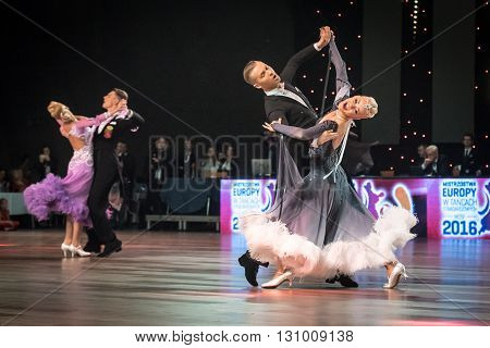Wroclaw Poland - May 14 2016: Evaldas Sodeika and Ieva Zukauskaite in dance pose during World Dance Sport Federation European Championship Standard Dance on May 14 in Wroclaw Poland