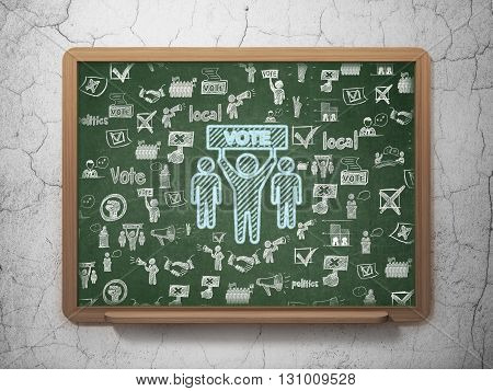 Politics concept: Chalk Blue Election Campaign icon on School board background with  Hand Drawn Politics Icons, 3D Rendering