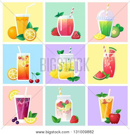 Set of different drinks, cocktails and juice on color card background, flat design