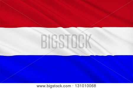 Flag of the Netherlands (Holland) - Variants of the flag have been in use since 1572 and in 1937 the flag was officially formalized as the national flag of the Kingdom of the Netherlands. 3d illustration