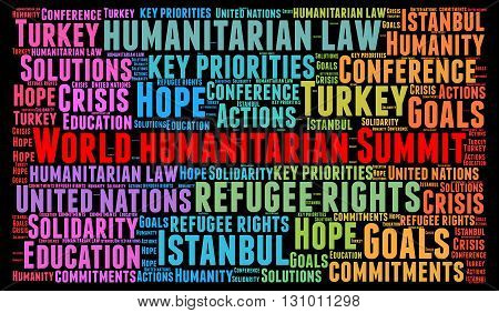 World humanitarian summit word cloud concept illustration
