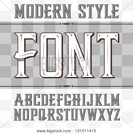 Vector label font, modern style. Whiskey style