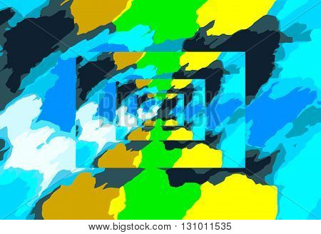 blue green and yellow painting abstract background