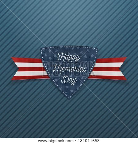 Happy Memorial Day patriotic Emblem and Ribbon. National American Holiday Background Template. Vector Illustration.