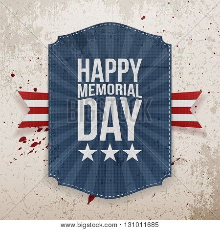 Happy Memorial Day patriotic Poster and Ribbon. National American Holiday Background Template. Vector Illustration.