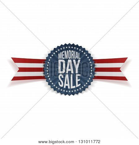 Memorial Day Sale patriotic Badge and Ribbon. National American Holiday Background Template. Vector Illustration.