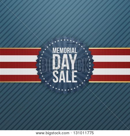 Memorial Day Sale patriotic Banner and Ribbon. National American Holiday Background Template. Vector Illustration.