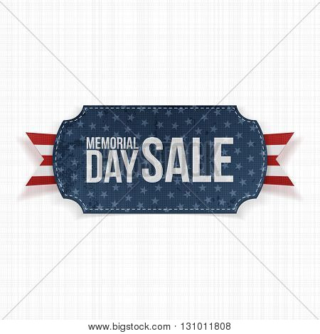 Memorial Day Sale patriotic Label and Ribbon. National American Holiday Background Template. Vector Illustration.