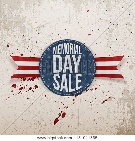 Memorial Day Sale patriotic Sign and Ribbon. National American Holiday Background Template. Vector Illustration.