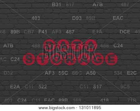 Information concept: Painted red text Data Storage on Black Brick wall background with Hexadecimal Code
