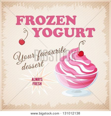 Vector illustration banner with cherry frozen yogurt on the vintage background. eps10