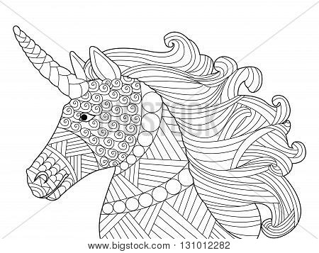 Head unicorn coloring book for adults vector illustration. Anti-stress coloring for adult. Horse zentangle style. Black and white lines. Lace pattern