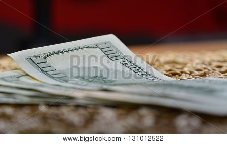 Shot of one hundred us dollar bills