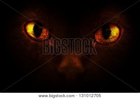 An illustration of scary burning demonic eyes.