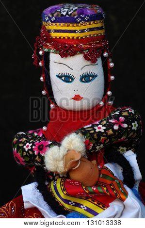 Rag doll portrait toys folklore souvenir flea market.