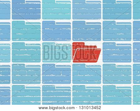 Business concept: rows of Painted blue folder icons around red folder icon on White Brick wall background