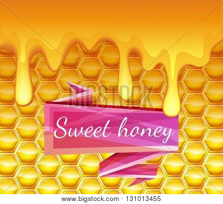 Realistic background with honeycombs and honey dripping. High-quality graphics. Bright pink ribbon