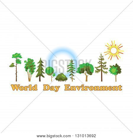World environment day, poster. World environment day on white background of flat style.