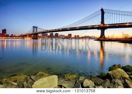 New York City Manhattan bridge at night