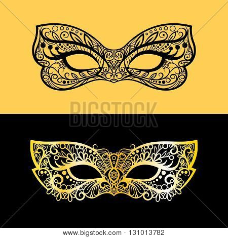 Gold and black lace mask. Vector venetian female mask