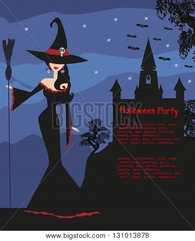 halloween invitation with beautiful witch , vector illustration