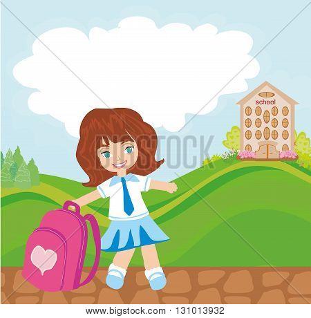 happy little girl going to school , vector illustration