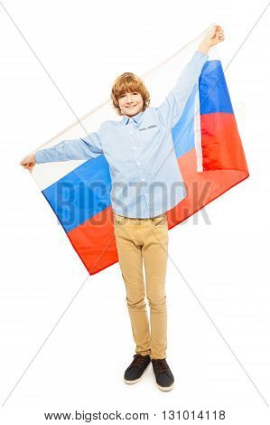 Teenage blond boy in full height waving Russian flag, isolated on white