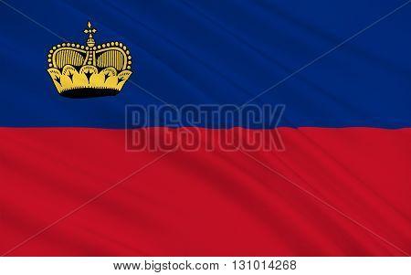 Flag of Liechtenstein officially the Principality of Liechtenstein is a doubly landlocked German-speaking,  microstate in Central Europe, 3D illustration