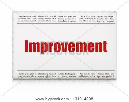 Finance concept: newspaper headline Improvement on White background, 3D rendering