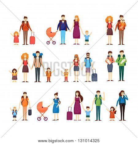 People travel with children, families. Characters Flat design vector illustration.