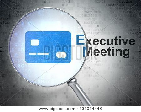 Business concept: magnifying optical glass with Credit Card icon and Executive Meeting word on digital background, 3D rendering