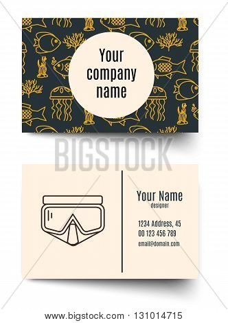 Business card for diving firms. Vector template