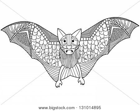 Bat coloring book for adults vector illustration. Anti-stress coloring for adult. Zentangle style. Black and white lines. Lace pattern