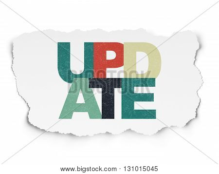 Web design concept: Painted multicolor text Update on Torn Paper background