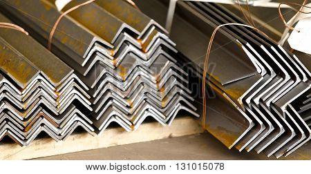 metal profiles angle lies in bundles of stock