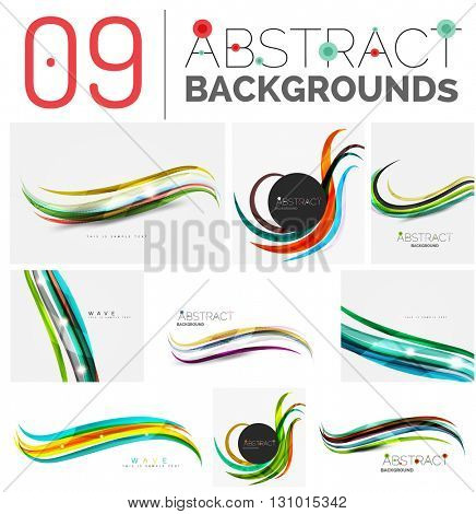 Color smooth waves, abstract identity elements, various colors, line design. Infinity space templates with sample text. Business card and identity design elements