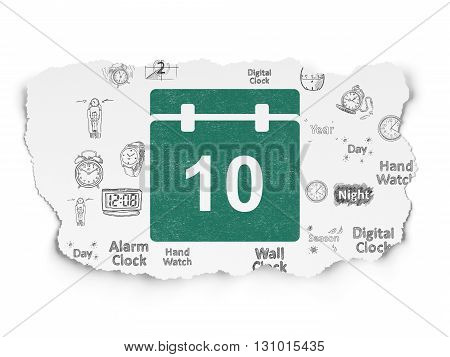 Timeline concept: Painted green Calendar icon on Torn Paper background with  Hand Drawing Time Icons