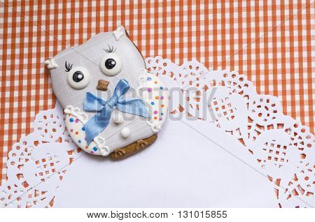 A cute vichy background with handmade honey-cake owl and a place for your text for a baby shower party, a birthday party or other events.
