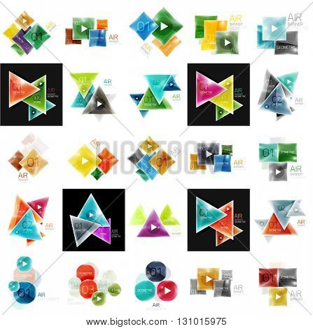 Collection of geometric web boxes - circles, squares and triangles. Glass shiny style