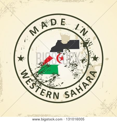 Grunge stamp with map flag of Western Sahara - vector illustration