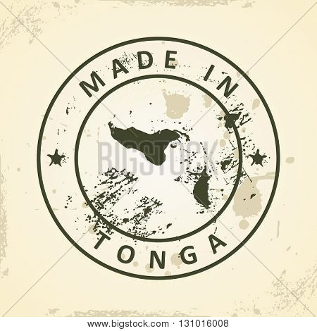 Grunge stamp with map of Tonga - vector illustration