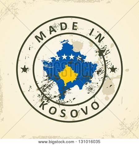 Grunge stamp with map flag of Kosovo - vector illustration