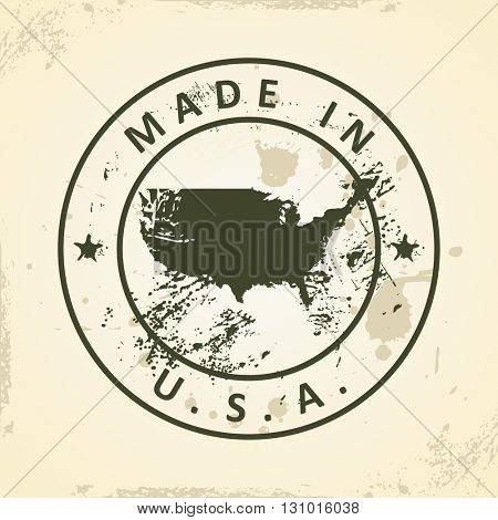 Grunge stamp with map of USA - vector illustration