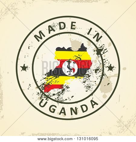 Grunge stamp with map flag of Uganda - vector illustration
